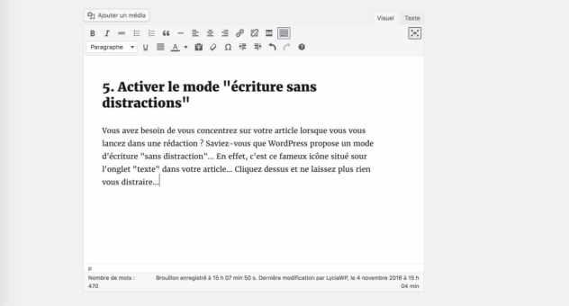 Écriture sans distraction - résultat