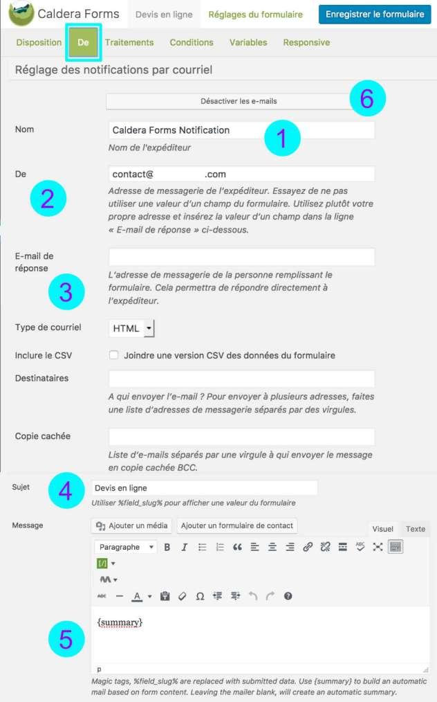 Caldera forms - paramétrer onglet DE