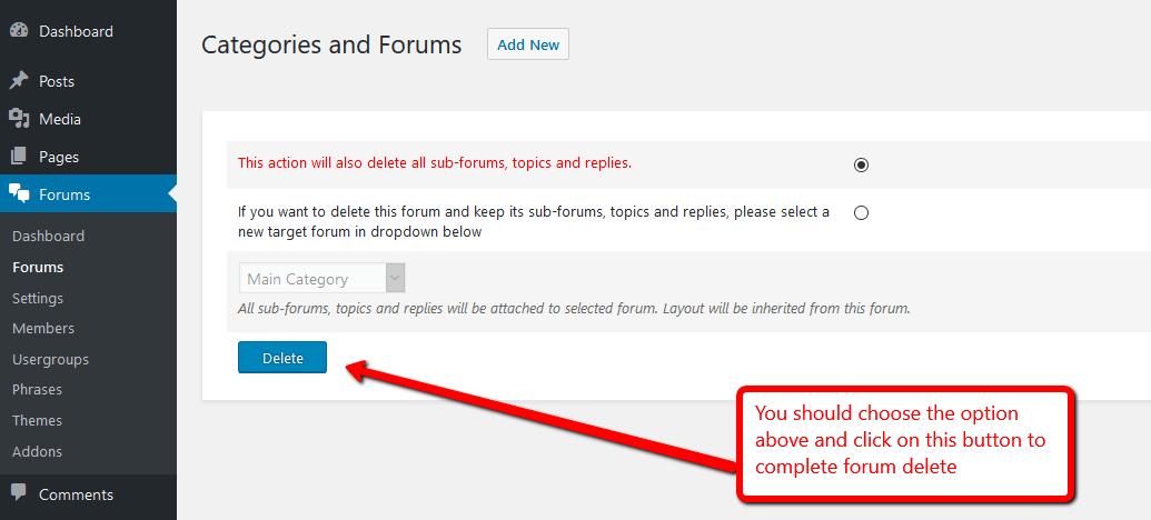 wpForo Delete Forum Second Step