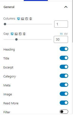 PostX Gutenberg Post Blocks general settings
