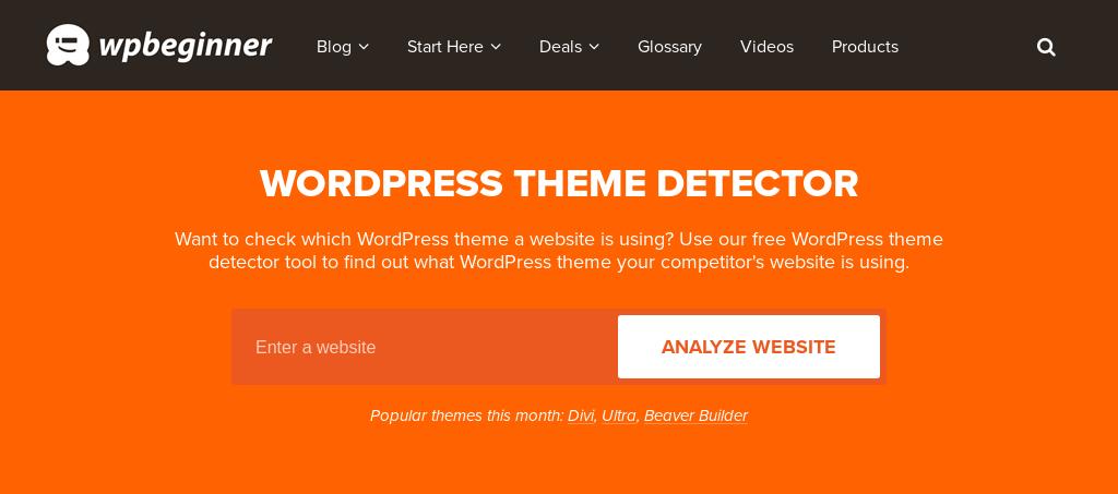 WpBegginer WordPress Theme Detector