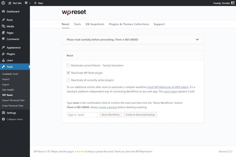 How to reset WordPress using a plugin
