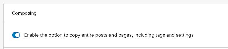 Jetpack Copy Post enabled