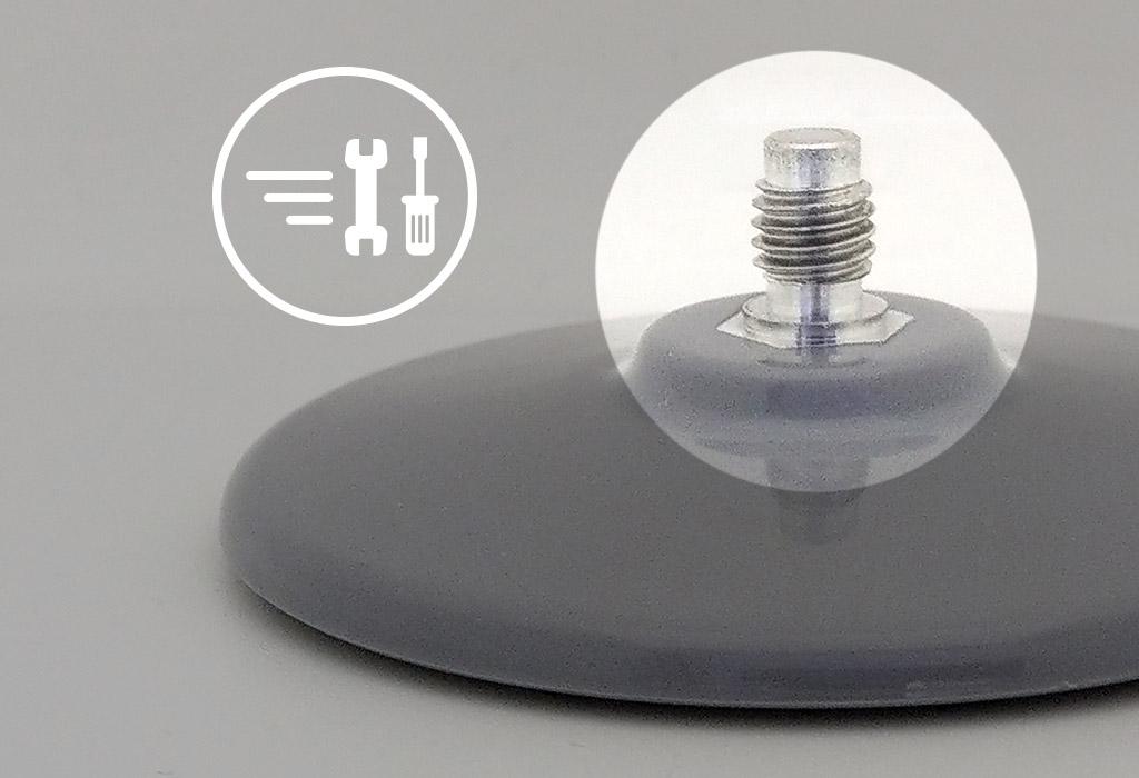 專利快拆螺絲設計-自黏盤上的螺牙特寫