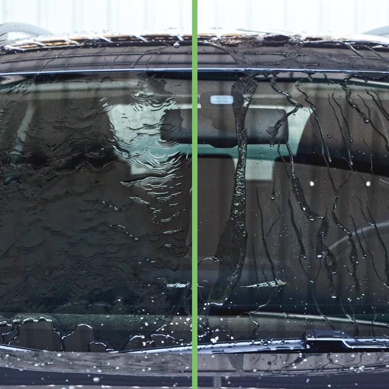 玻璃除油膜前後對比