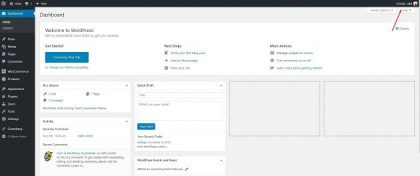 Back end with toolbar option- WordPress User admin toolbar