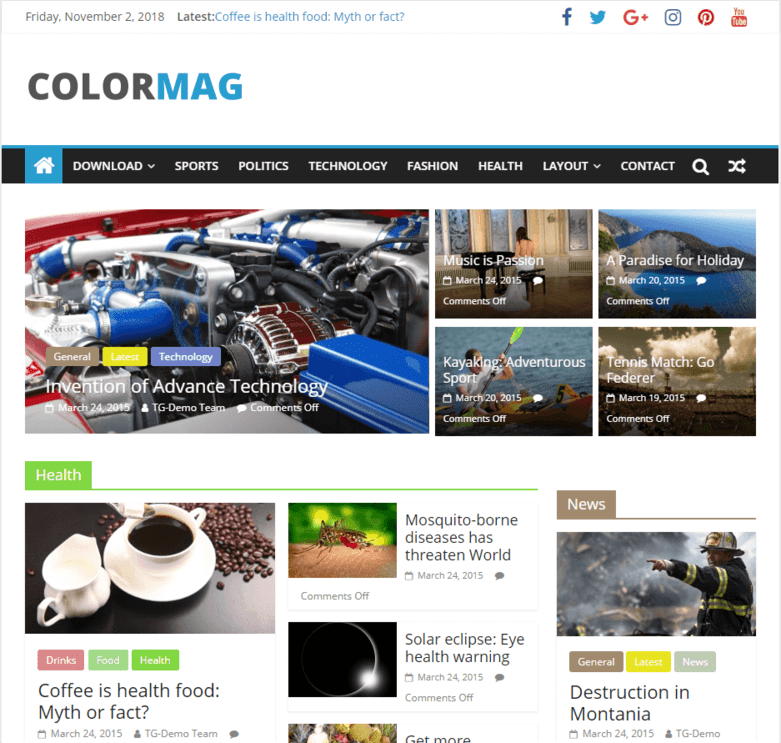 colormag- how to create a news website in WordPress