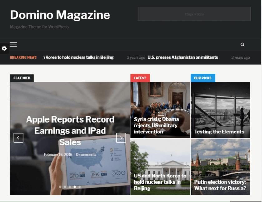 Domino magazine- how to create a news website in WordPress