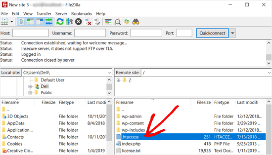 htaccess File in Filezilla