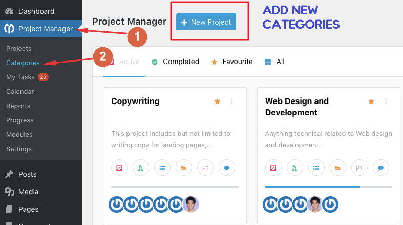 WP Project Manager Categories