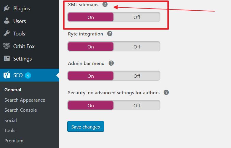 Enable XML Sitemap Yoast
