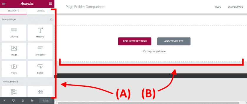 elementor builder