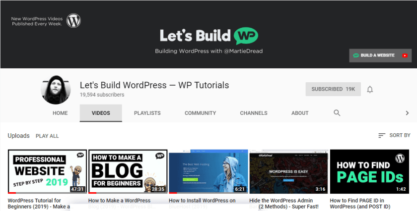 Let's Build WordPress YouTube Channel