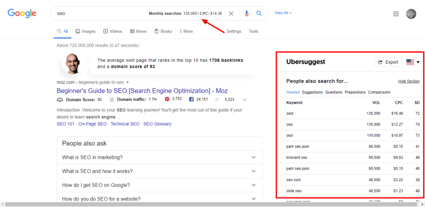 Ubersuggest tools for keyword research