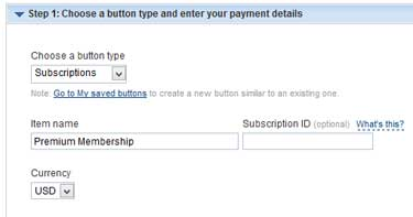 screenshot showing the paypal button options