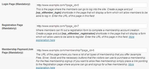 screenshot showing the pages/forms settings section of wp emember plugin