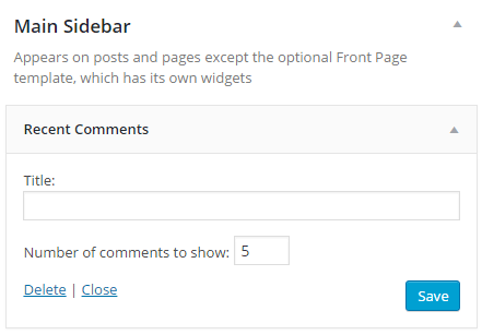 screenshot of recent comments widget in the sidebar