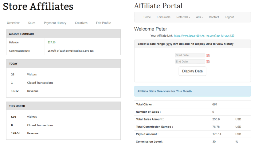 screenshot showing the dashboard of affiliates manager plugin and wp affiliate platform plugin