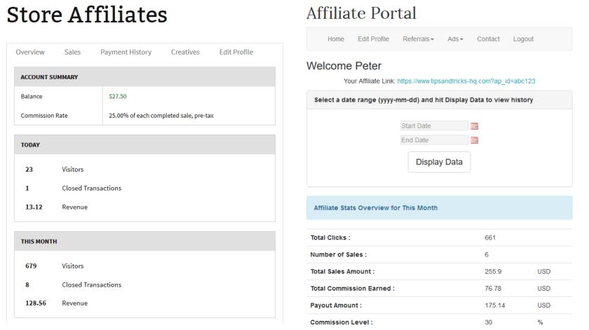 screenshot showing the dashboard of affiliates manager plugin and wp affiliate platform plugin