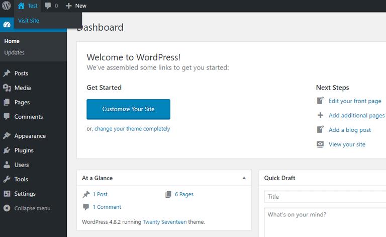 screenshot showing the WordPress admin dashboard on bluehost