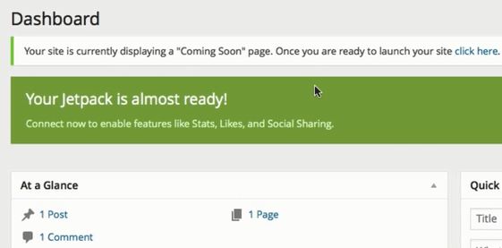 screenshot showing how to coming soon message in WordPress dashboard on bluehost
