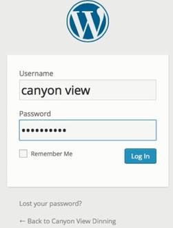 screenshot showing the WordPress login form on bluehost