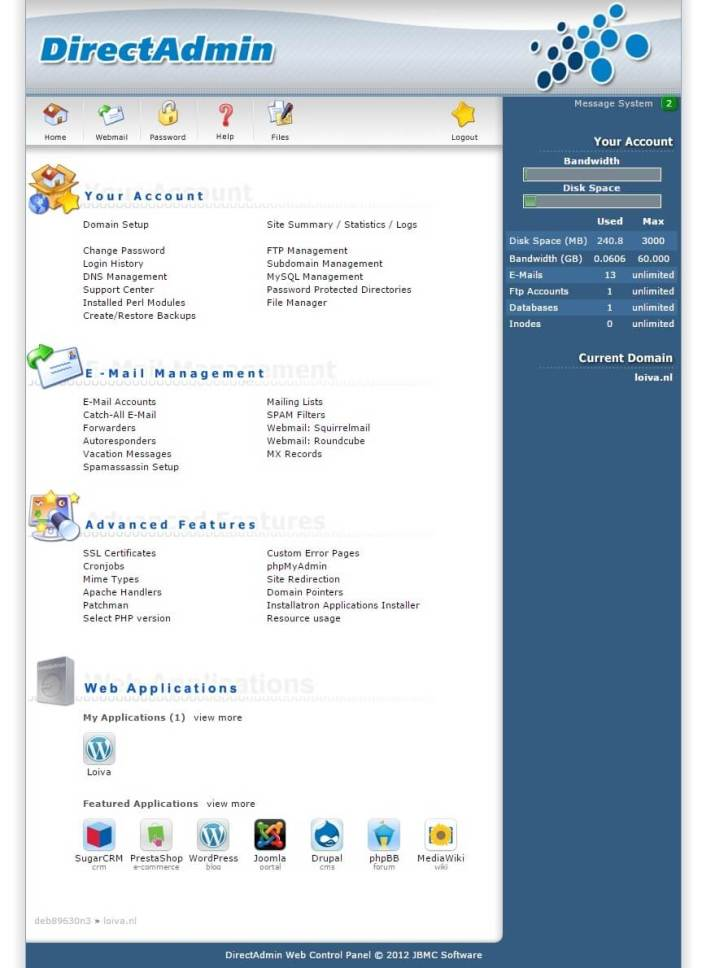 Printscreen backend Direct Admin