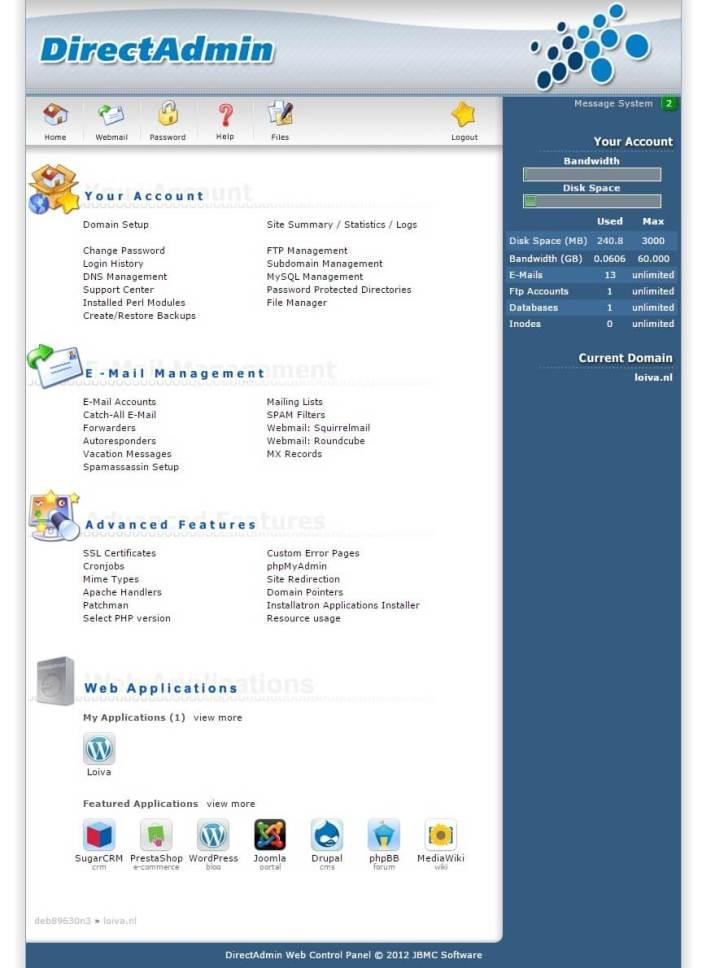 Printscreen backend Direct Admin