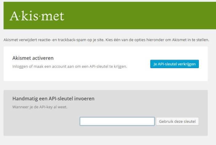 API Sleutel verkrijgen van Akismet