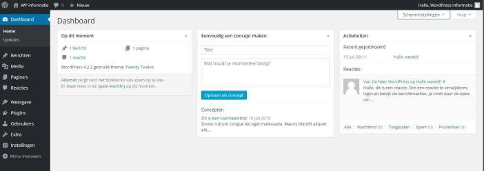 Printscreen WordPress backend