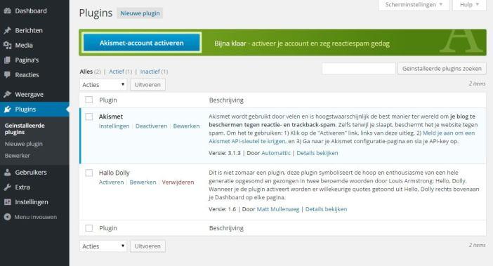 Hoe activeer je Akismet in WordPress?