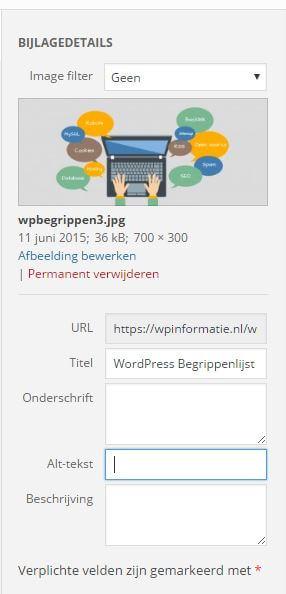 Alt-tekst toevoegen wordpress