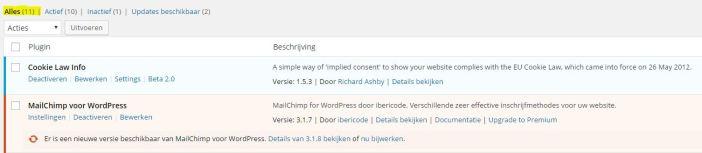 Wordpress Geinstalleerde plugins