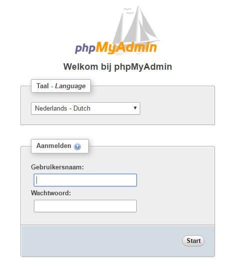 inloggen in phpmyadmin