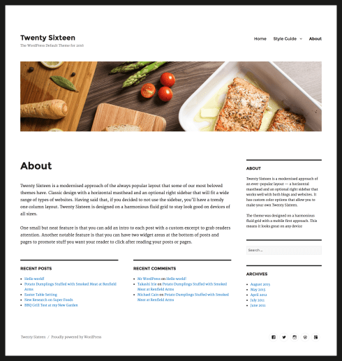 2016 WordPress Theme page custom header
