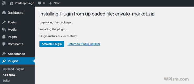 Activate the Envato Market Plugin