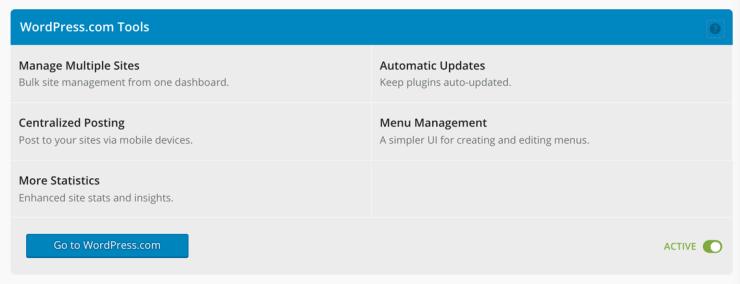 Activating WordPress Tools in Jetpack