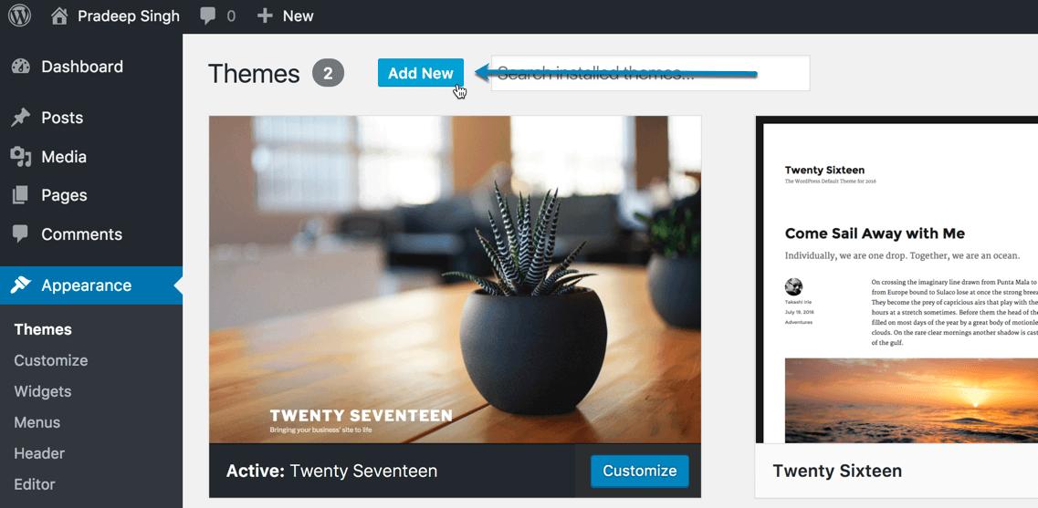 Add New Themes WordPress Blog New