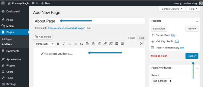 Adding New WordPress Pages for New Blog