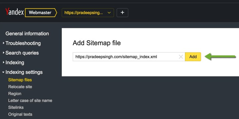 Adding Sitemap to Yandex Webmaster tools