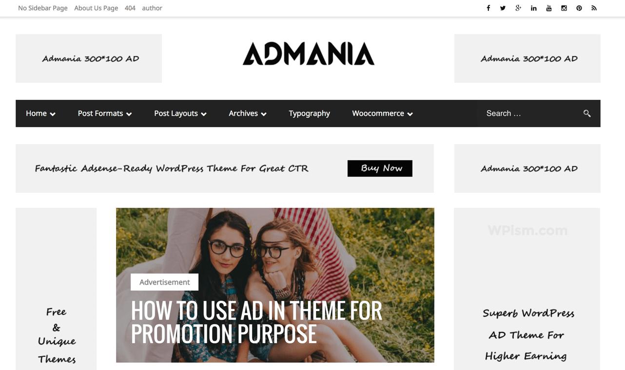 Admania Adsense Optimised WordPress Theme