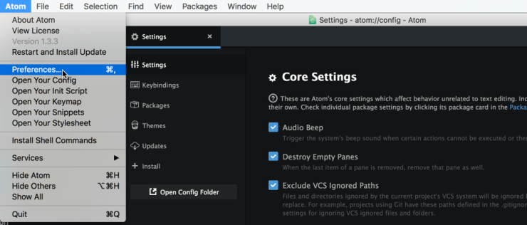 Atom Preferences Settings