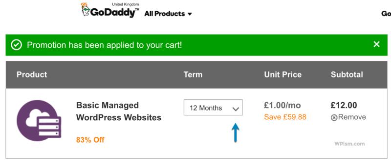Basic Managed WordPress GoDaddy Hosting Coupon Cart