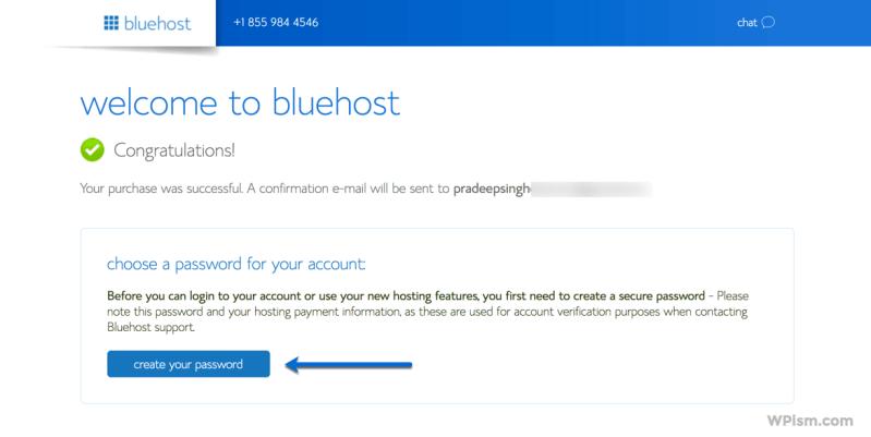 Bluehost WordPress Hosting Successful Create Password