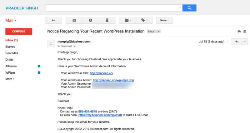Bluehost WordPress Installation Login Details