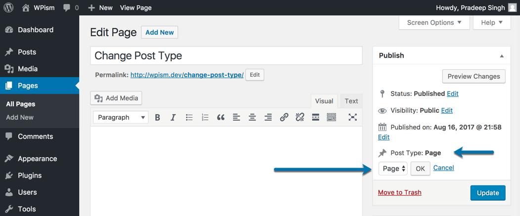 Change Post Type Publish Section Edit