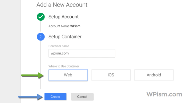 Choose Web for Google Tag Manager Account