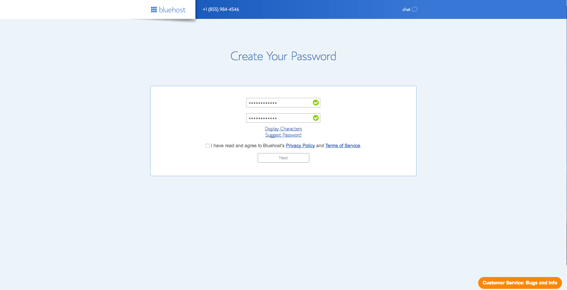 Choose password Bluehost create new blog