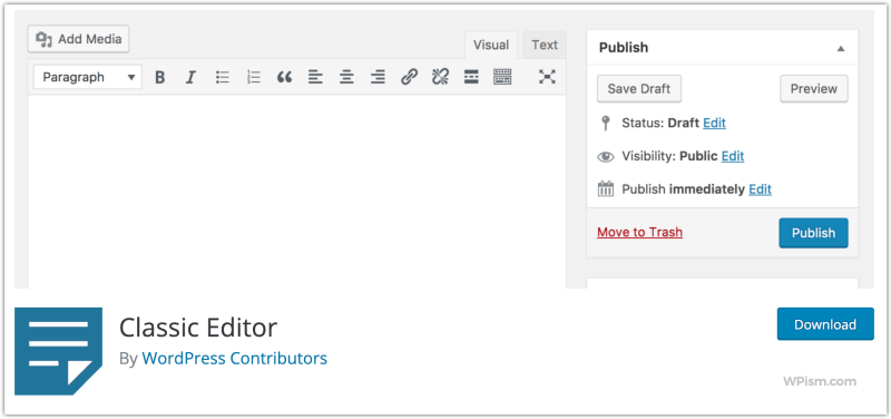 Classic Editor WordPress Plugin By WordPress Contributors Team