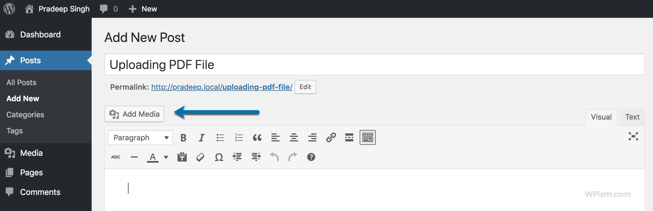 Click Add Media to Upload PDF File